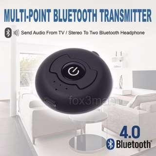 Multi Point Bluetooth Transmitter多點藍牙發射器  同時傳送音響音訊至兩個藍牙耳機