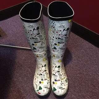 法式雨鞋~可愛塗鴉