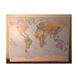 2017 comprehensive World map license , High Quality Canvas Print