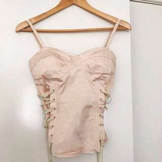 Bustier Blush Pink Lace Up