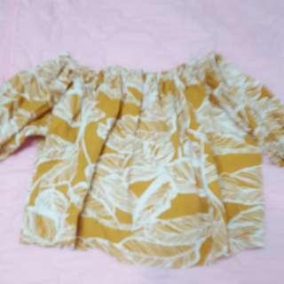 樹葉芥末黃上衣