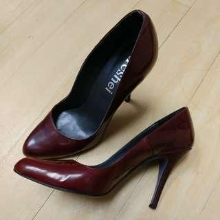 酒紅高踭鞋 39號 新淨 burgundy high heels size 39 almost new