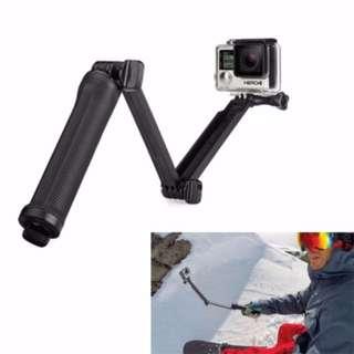 3-Way Monopod with RUBBER GRIP (NOT CHEAP PLASTIC) + Tripod + Grip Super Portable Magic Mount Selfie Stick for GoPro Hero 5 / 4 / 3+ / 3 / 2 / SJ4000, Length of Extension: 20-62cm