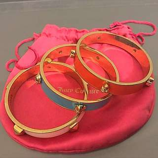 3x Authentic Juicy Couture Coloured Bangles