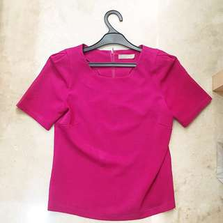 Executive atasan kerja fuschia pink top