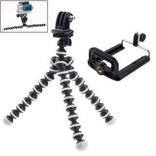 2 in 1 Flexible Tripod with Mount Adapter + Phones Mount Adapter Set for GoPro HERO 5 / 4 / 3+ / 3 / 2 / 1 / SJ4000 / Mobile