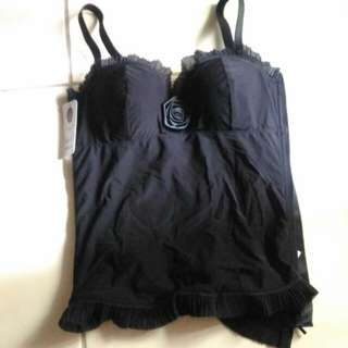#手滑買太多 曼黛瑪璉 特色 性感 黑色 玫瑰 馬甲 M 調整 內衣 鋼圈