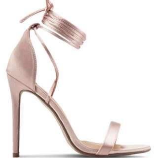 Missguided Pink Rose Satin Heels