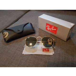 New Genuine Ray Ban RB 3447 Gold Metal Round Unisex Sunglasses G-15