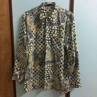 古著印花 文青長袖襯衫 vintage