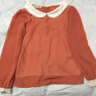 Korean style orange peter collar Blouse