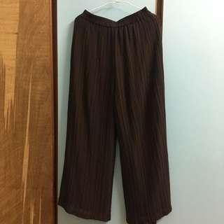 咖啡色 壓褶長褲古著80s vintage 復古 大寬褲