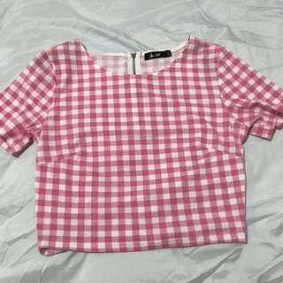 Pink Gingham Crop Top