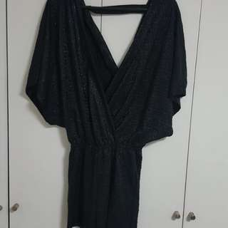 ZALORA BLACK SHINY TEXTURED ROMPER SIZE SMALL /MEDIUM