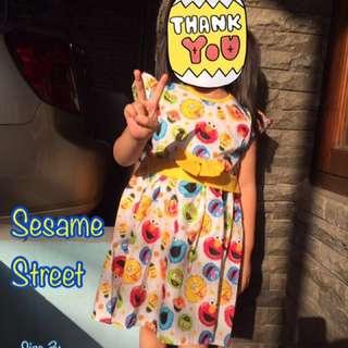 new 😍 Dress Katun Sesame Street Anak 1-4 Tahun