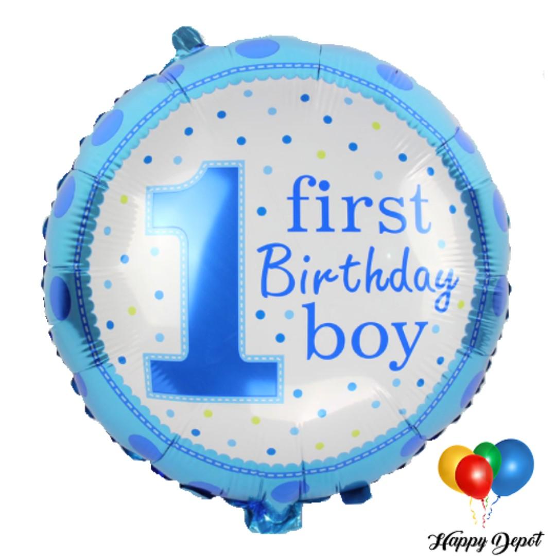 1st Birthday Boy Round Foil Balloons