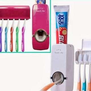 Toothpaste Dispenser + Brush Organizer