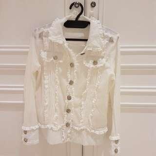 White ruffles outer/blazer