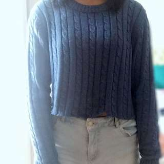 Cropped blue sweater long sleeve