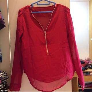 V neck zipper chiffon blouse