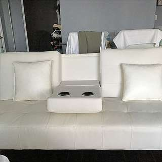 White Faux Leather futon From Leons