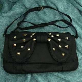 Black With Gold Stud Crossbody