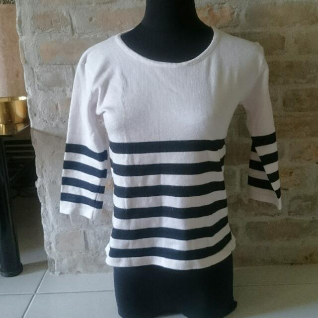 3/4 white Office Blouse Cardigan Stripes