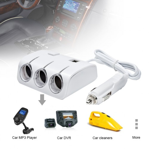 3-Way 120W 12V/24V Car Power Splitter with Dual USB Car Charger White Colour