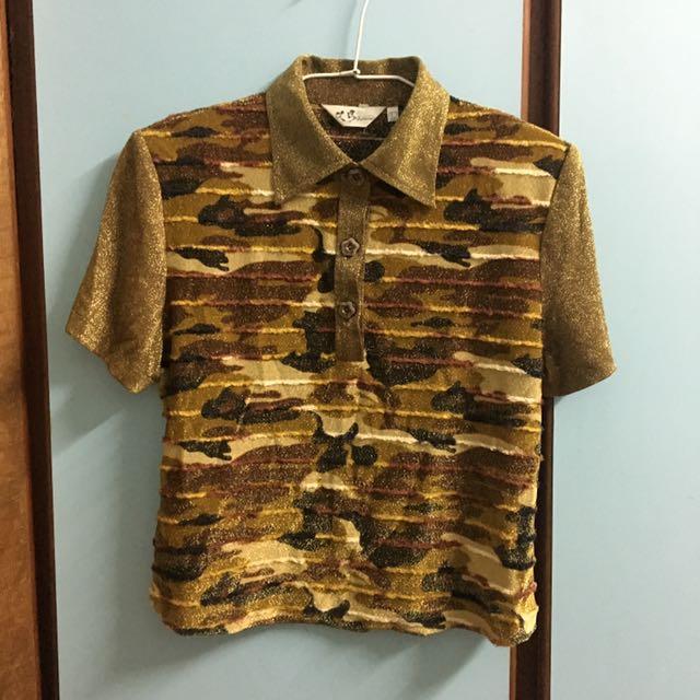 90s 針織 金蔥迷彩古著短版上衣