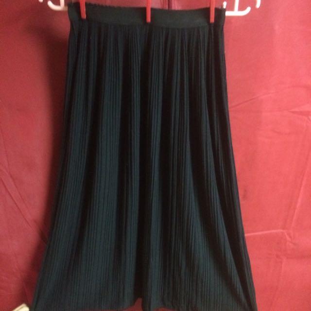 黑色棉質小百折長裙