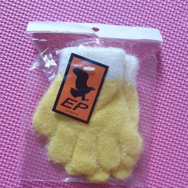 (可贈)寶寶黃色保暖手套