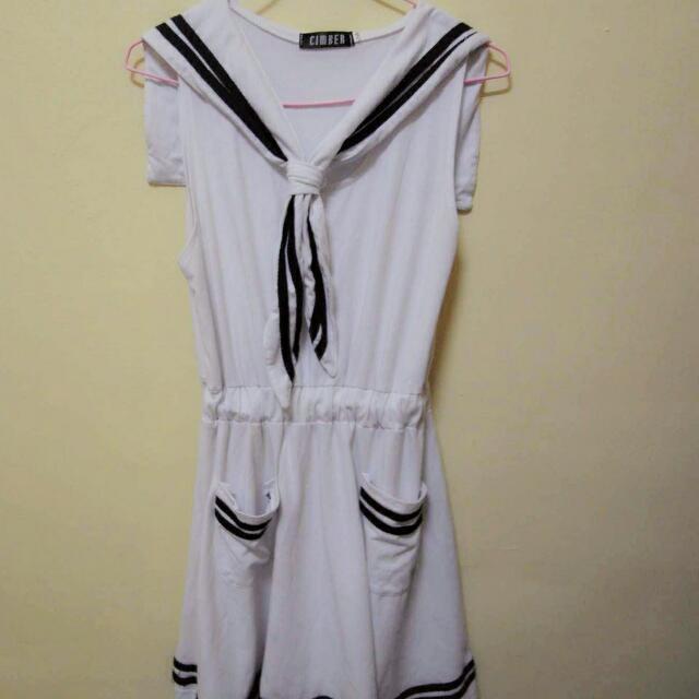 水手服無袖洋裝