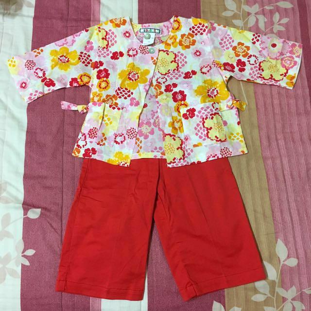 愛的世界童裝 日式和風印花罩衫+褲子套裝👉🏻全新