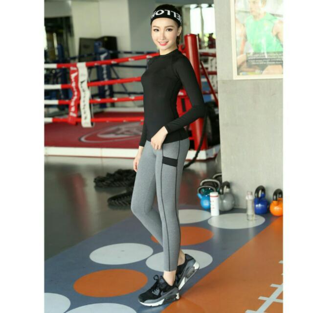全新瑜珈健身運動褲 塑身褲 內搭褲  跑步 訓練 灰色