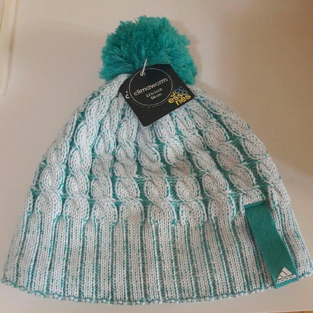 adidas 藍綠白色編織毛帽