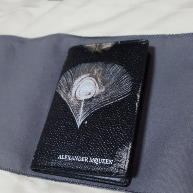 ALEXANDER MCQUEEN  peacock leather card holder