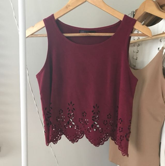 ALLY Red / Maroon Velvet Cut Out Crop Top