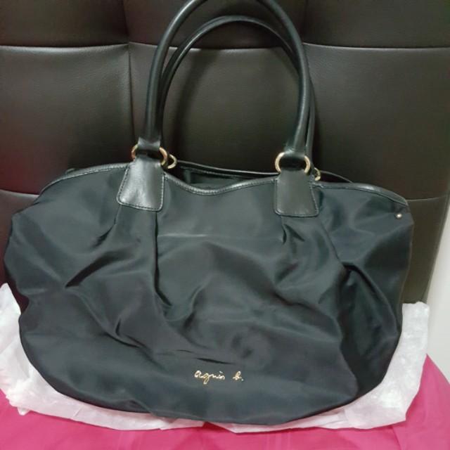 6d242027d32 Authentic Agnes B. Voyage Nylon Handbag Shoulder Bag Black, Luxury ...