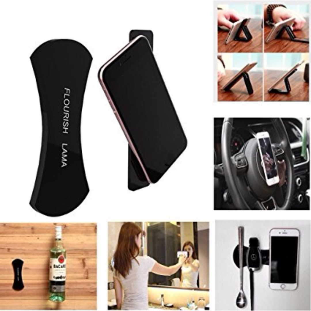 *Authentic* Flourish Lama Nano Sticker Pad, Fixate Gel Pads, Car Kit Bracket Pod Holder, Rubber Silicone Wall Sticker for Mobile Phone Holder Stand, No Trace Anti Slip Washable Sticker, Multi-Function (Black) Apple iphone