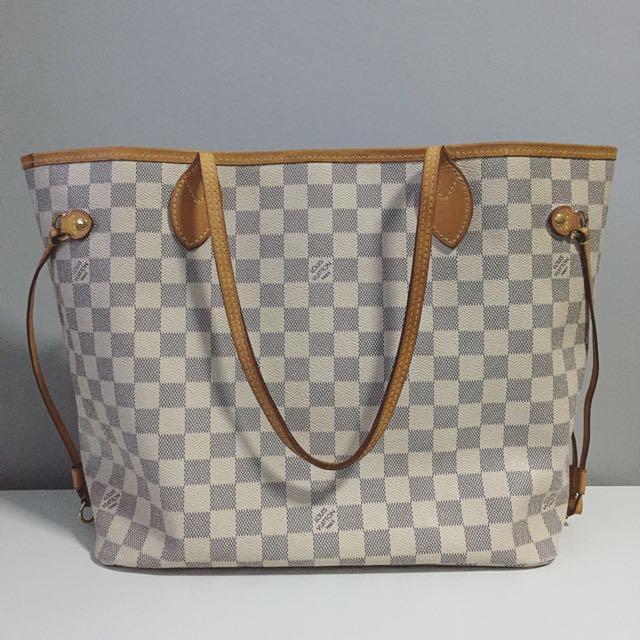 390cc893ba02 Authentic Louis Vuitton Neverfull MM Damier Azur Canvas