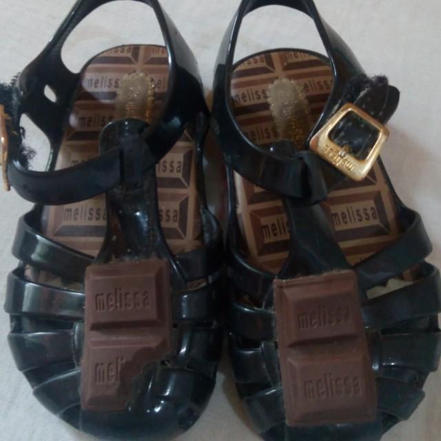 Authentic Mini Melissa Chocolate Sandals black