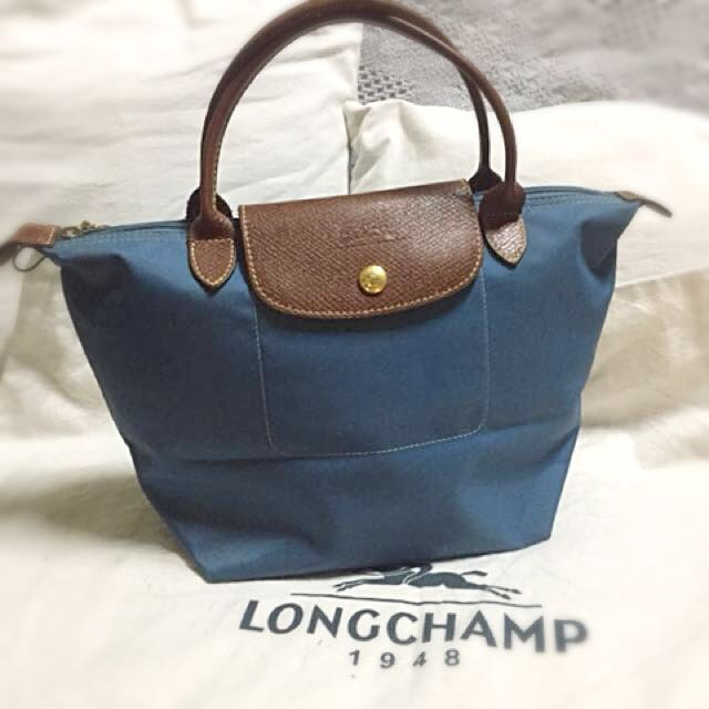 cb92b4557abf Authentic Preloved Small Longchamp Le Pliage Duck Blue Short Handle Tote