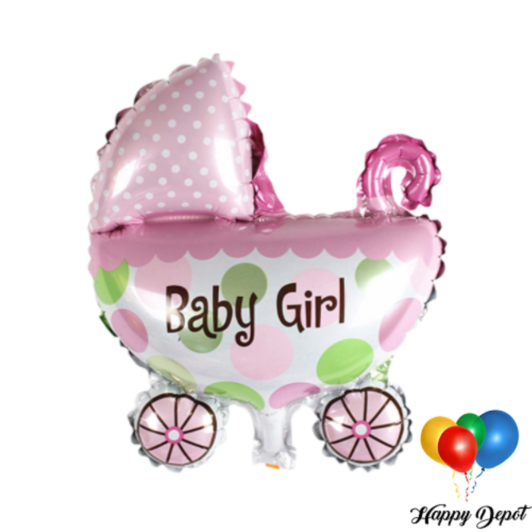 Baby Girl Carriage Foil Balloons