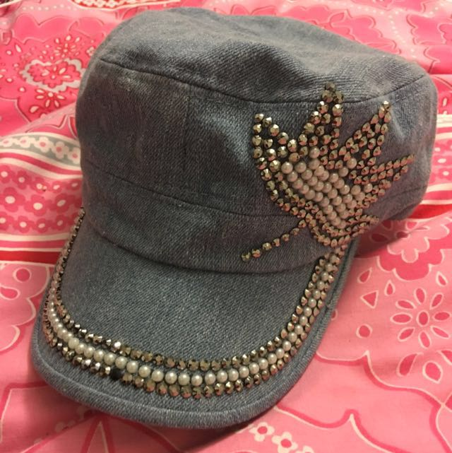 Bejewelled Blue Denim Hat