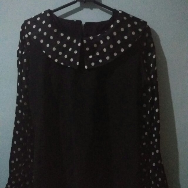 Black polkadot blouse