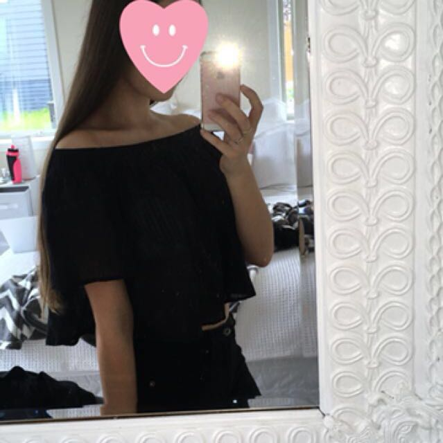 Black Sheer Off Shoulder Top