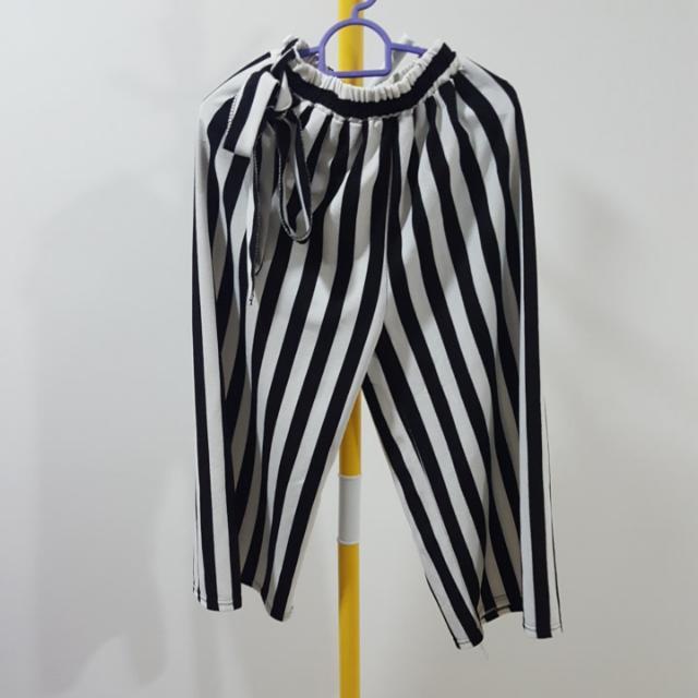 Black White Tie Back Stretchy Pants Free Size