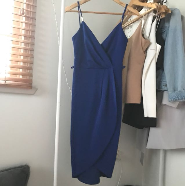 Blue Crossover Midi Dress with Gold Detailing (New with Tags) - Size Small