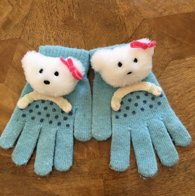 Blue Teddy Bear Gloves