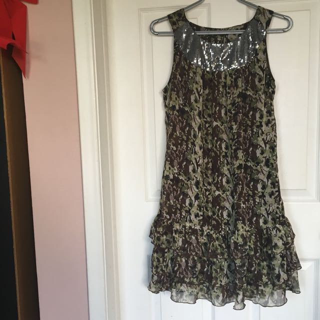 Camouflage Dress with Silver Neckline